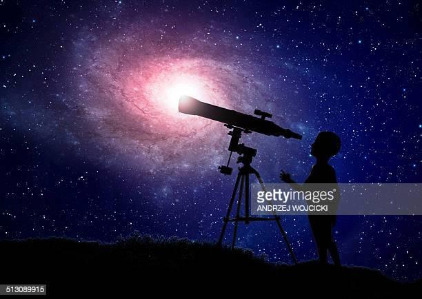 Telescope at night, artwork