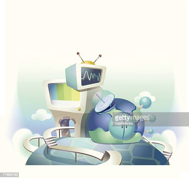 television and a computer near the globe - television aerial stock illustrations, clip art, cartoons, & icons