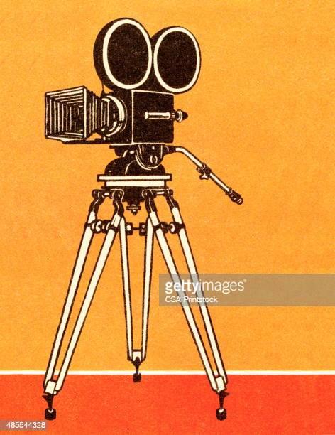 television camera - camera tripod stock illustrations, clip art, cartoons, & icons