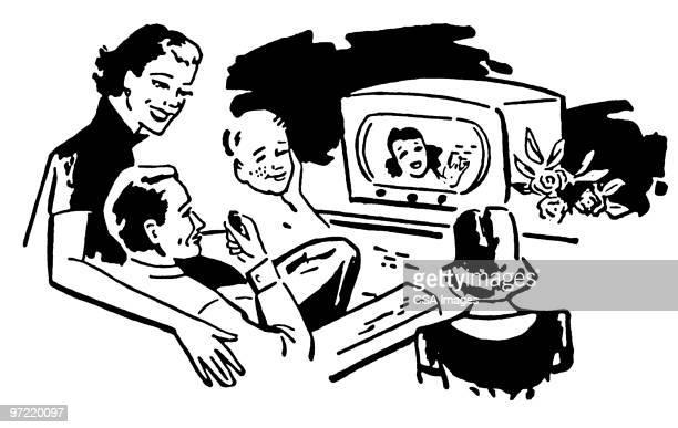 ilustraciones, imágenes clip art, dibujos animados e iconos de stock de television - familia viendo tv