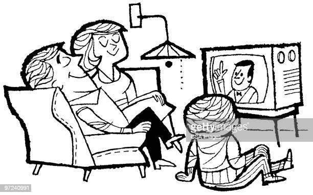 Ilustraciones De Stock Y Dibujos De Familia Viendo Tv