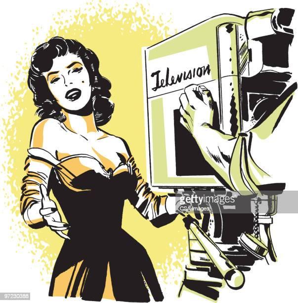 television star - film crew stock illustrations