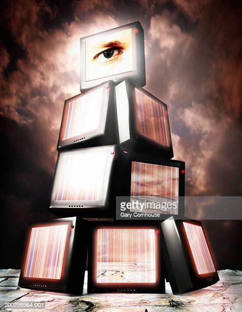 televisions stacked on top of one another(digital) - big brother orwellian concept stock illustrations, clip art, cartoons, & icons