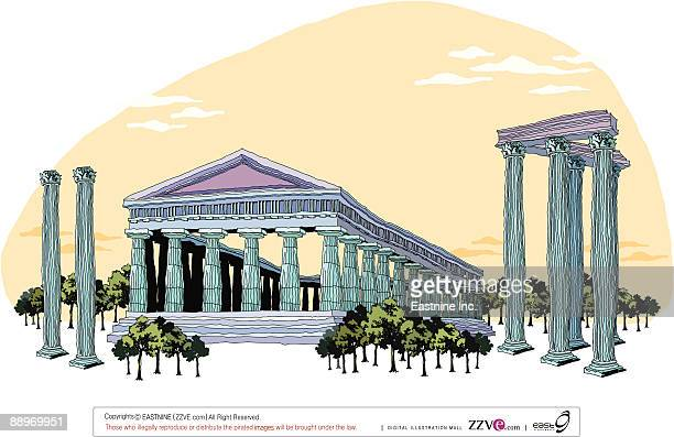 temple by cloudy sky - pediment stock illustrations, clip art, cartoons, & icons