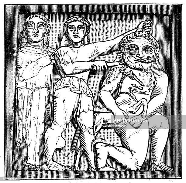 temple c at selinus, two metopes - selinunte stock illustrations