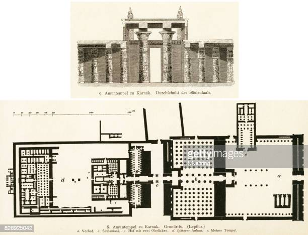 temple of amun-re at karnak - thebes egypt stock illustrations