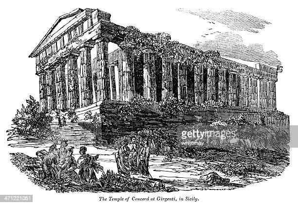 temple of concord, girgenti, sicily - 1833 illustration - agrigento stock illustrations