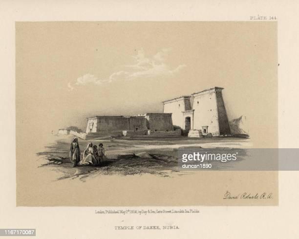 temple of dakka, lower nubia, egypt, 19th century - nubia stock illustrations, clip art, cartoons, & icons