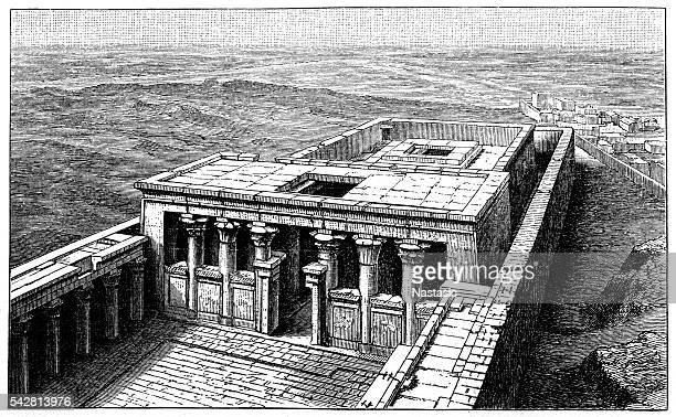 temple of edfu - sandstone stock illustrations, clip art, cartoons, & icons