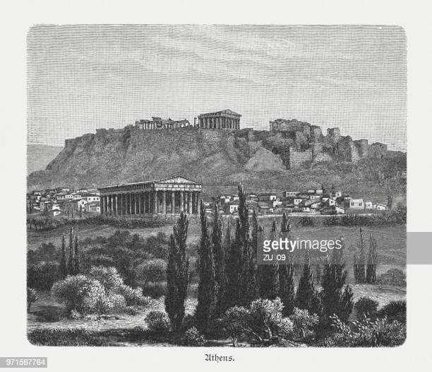 Temple of Hephaestus and the Acropolis in Athens, Greece, 1897