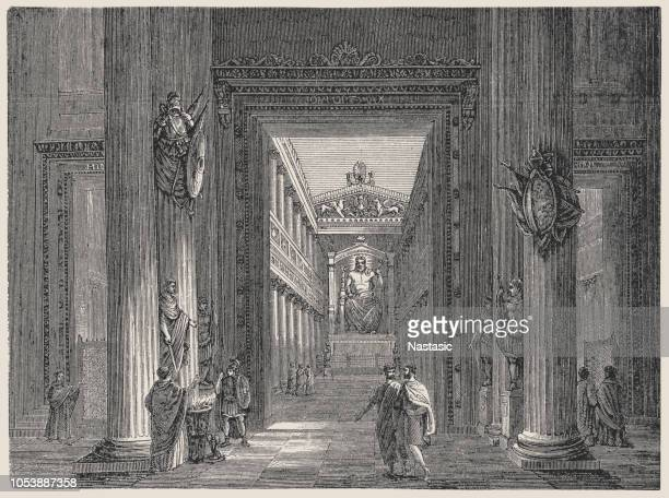 temple of jupiter - roman god stock illustrations