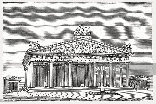 temple of jupiter optimus maximus in rome, published in 1878 - roman god stock illustrations