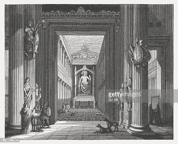 temple of jupiter optimus maximus in rome, published in 1878 - capitol rome stock illustrations, clip art, cartoons, & icons