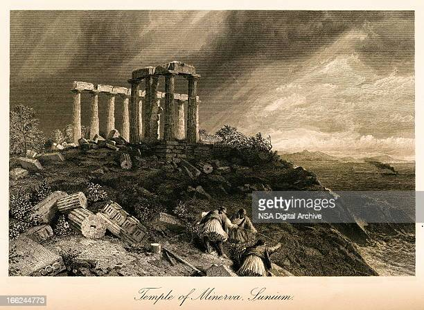 temple of minerva, cape sounion, greece(antique steel engraving) - classical greek style stock illustrations