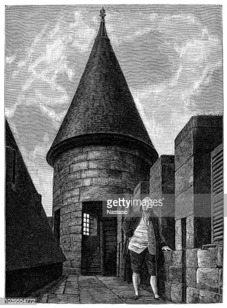 illustrations, cliparts, dessins animés et icônes de temple de paris, qui a servi de prison au roi de france louis xvi (1754-1793) et sa famille - louis 16