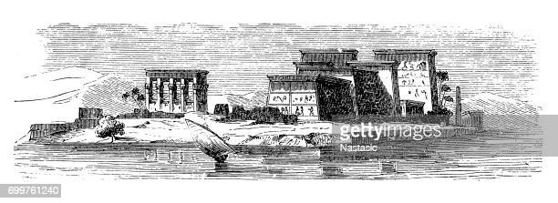 temple of pilak, philae - thebes egypt stock illustrations