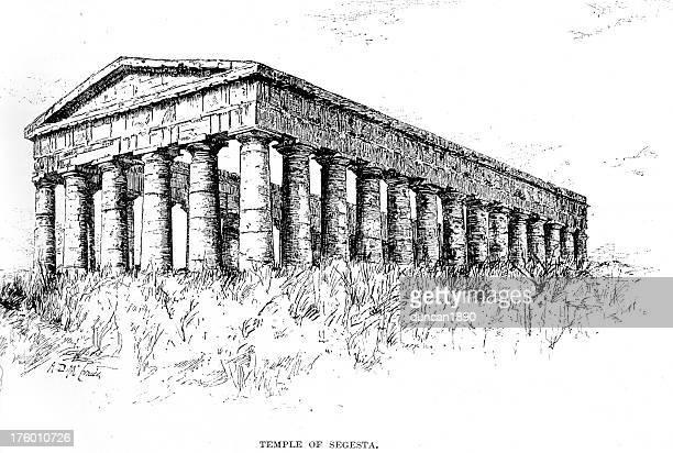temple of segesta sicily - sicily stock illustrations, clip art, cartoons, & icons