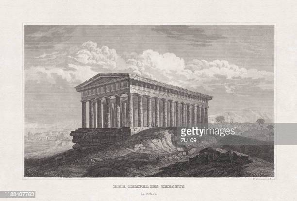 temple of theseus (hephaestus), athens, greece, steel engraving, published 1857 - athens greece stock illustrations