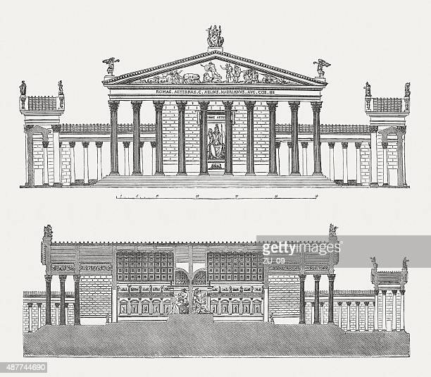 temple of venus and roma in rome, published in 1878 - roman goddess stock illustrations, clip art, cartoons, & icons