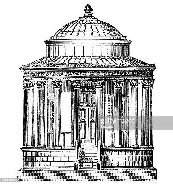 temple of vesta, in tivoli - red cabbage stock illustrations, clip art, cartoons, & icons