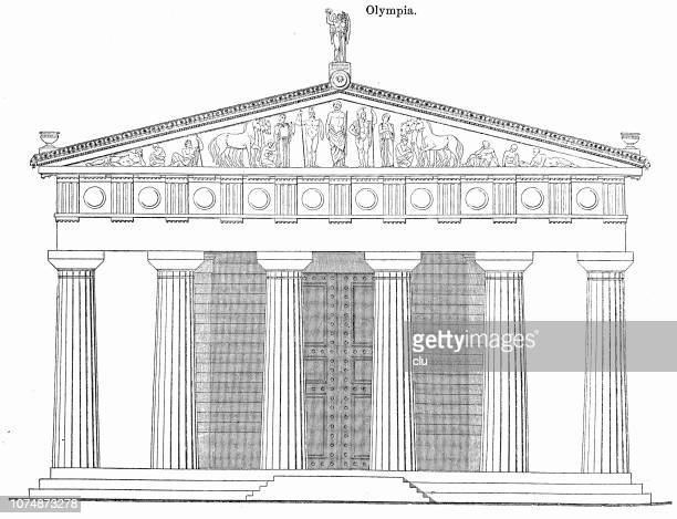 temple of zeus in olympia, east side - ancient olympia greece stock illustrations, clip art, cartoons, & icons