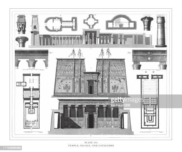 temple, palace and catacombs engraving antique illustration, published 1851 - thebes egypt stock illustrations