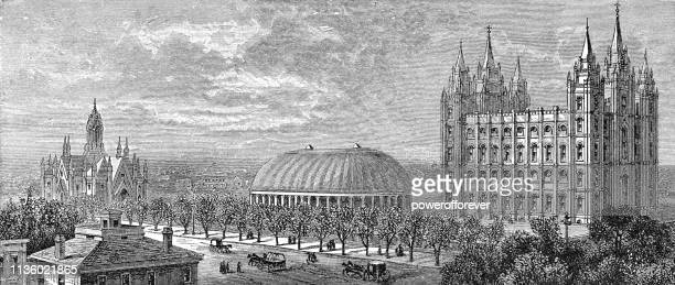 temple square in salt lake city, utah - 19th century - utah stock illustrations, clip art, cartoons, & icons