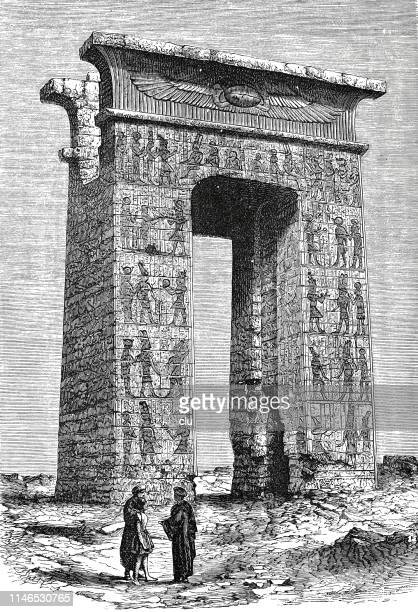 temples of karnak, ruins - thebes egypt stock illustrations