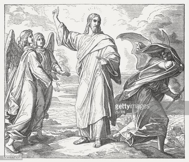 temptation of christ (mathew 4, 1-11), wood engraving, published 1890 - temptation stock illustrations, clip art, cartoons, & icons