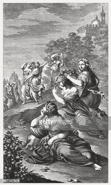 temptation of st benedict, painted by lodovico carracci, bologna, italy - bologna stock illustrations, clip art, cartoons, & icons
