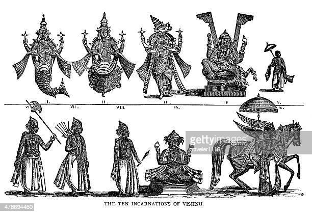 ten incarnations of hindu god vishnu - hindu god stock illustrations