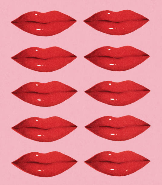 ten red lips - lips stock illustrations