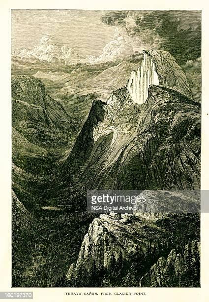 tenaya キャニオン、氷河の点から見ると、カリフォルニア州 - 内陸部の岩柱点のイラスト素材/クリップアート素材/マンガ素材/アイコン素材