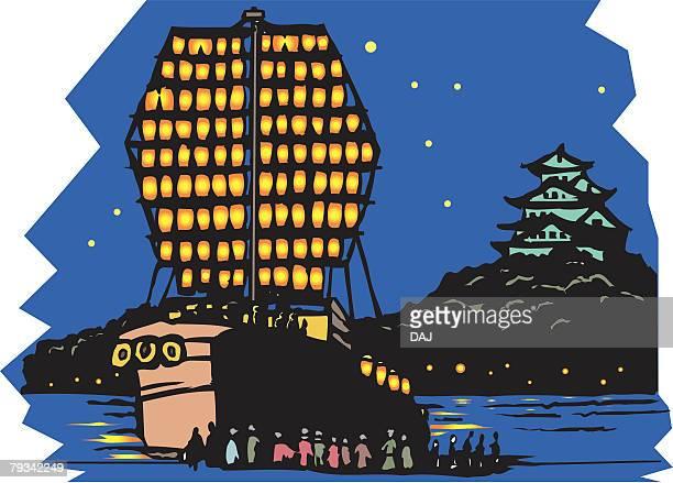 tenjin festival, woodcut, osaka, japan - osaka prefecture stock illustrations, clip art, cartoons, & icons