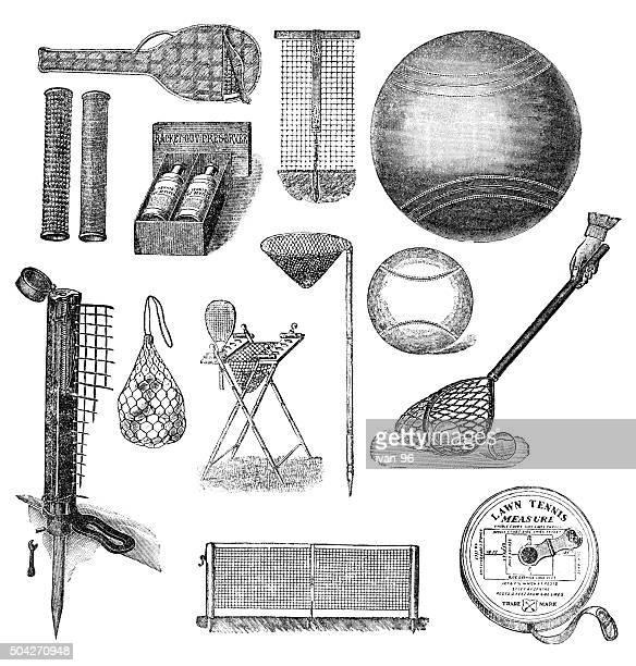 ilustraciones, imágenes clip art, dibujos animados e iconos de stock de equipo de tenis - monoimpresión