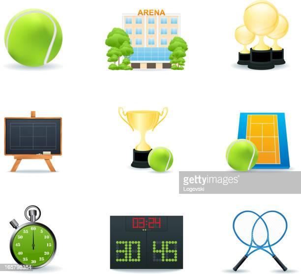 tennis icons - scoring stock illustrations