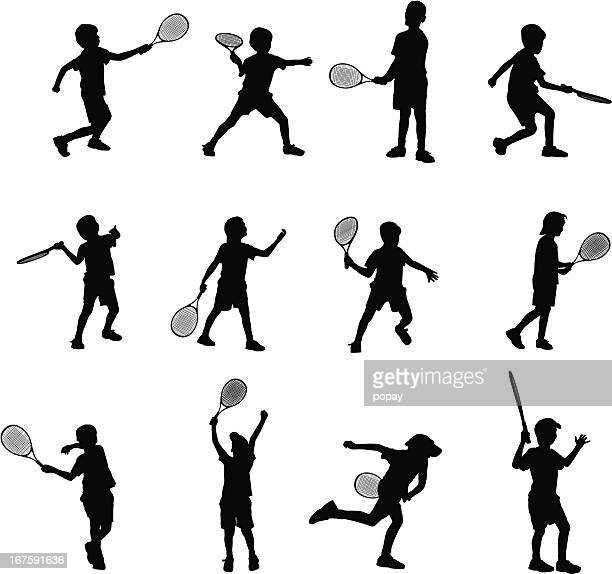 tennis kids - tennis stock illustrations