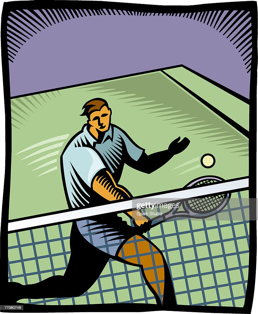 A tennis player playing in a match : Illustration