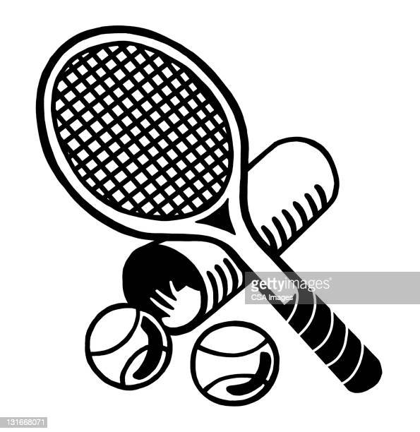 tennis racket and balls - four objects stock illustrations