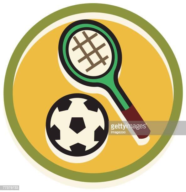 ilustraciones, imágenes clip art, dibujos animados e iconos de stock de tennis racket and soccer ball - educacion fisica
