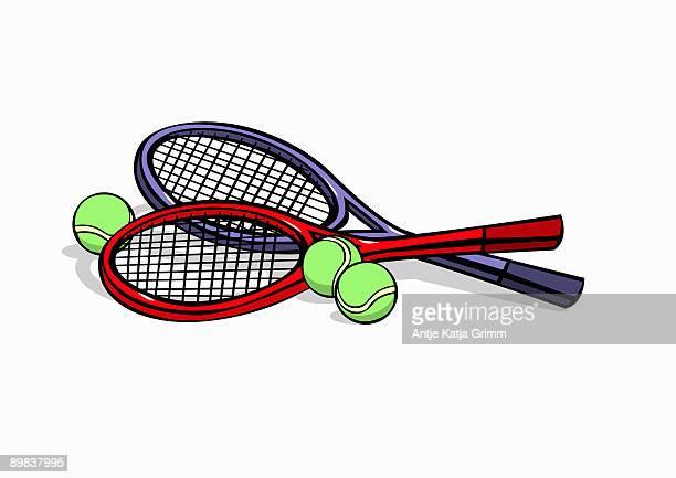 ilustraciones, imágenes clip art, dibujos animados e iconos de stock de tennis rackets and tennis balls - raqueta de tenis