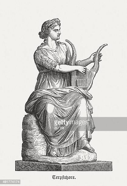 terpsichore - greek muse, published in 1878 - classical greek style stock illustrations