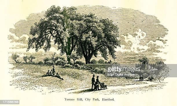 terrace hill, hartford, connecticut - connecticut river stock illustrations, clip art, cartoons, & icons