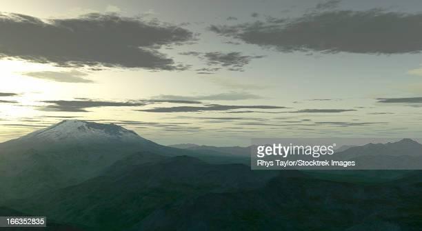 terragen render of mt. st. helens, washington, usa, at twilight. - stratovolcano stock illustrations, clip art, cartoons, & icons