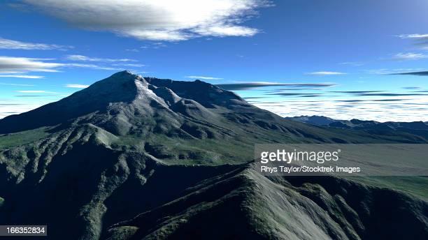 terragen render of mt. st. helens, washington, usa, in daylight. - stratovolcano stock illustrations, clip art, cartoons, & icons