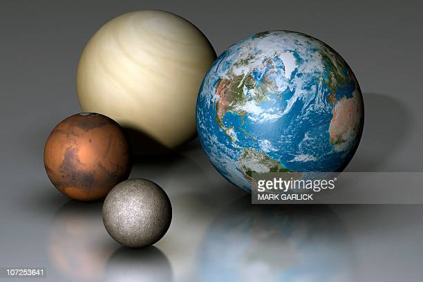 terrestrial planets compared - venus planet stock illustrations