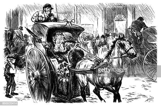 terrified old lady grabbing the reins - runaway vehicle stock illustrations, clip art, cartoons, & icons