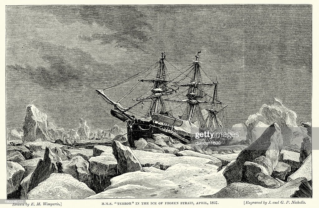 HMS Terror frozen in the ice, 1837 : stock illustration