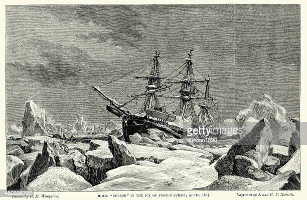 hms terror frozen in the ice, 1837 - us navy stock illustrations, clip art, cartoons, & icons