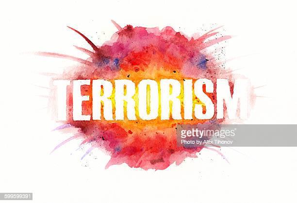 Terrorism watercolor illustration